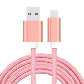SiGN USB kabel med Lightning kontakt för iPhone & iPad Rosa/Nylontyg, 2m