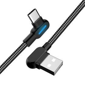 SiGN SiGN Vinklad USB-C kabel med LED-indikator 1m - Svart