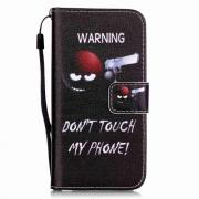"Läderfodral ""Warning Don't touch my phone"" till iPhone 7/8"