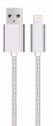 USB kabel med Lightning kontakt för iPhone & iPad Silver/nylon, 1m