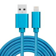 USB kabel Lightning kontakt för iPhone & iPad Blå/Nylon, 3m