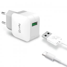Celly Celly USB-laddare med USB Typ-C kabel 2,4A
