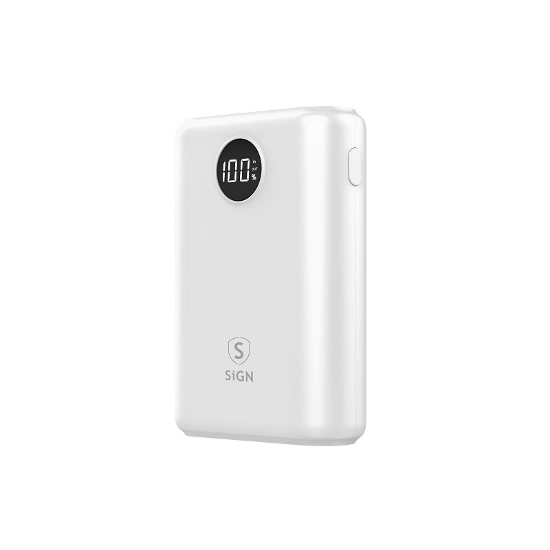 SiGN Mini Q.C Powerbank med Display 10.000mAh - Vit
