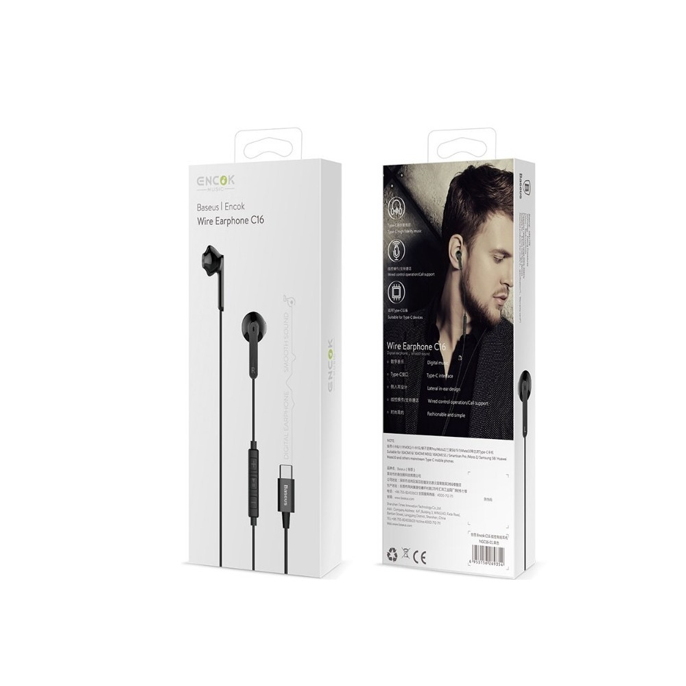 Baseus Encok C16 USB-C In-ear Hörlurar - Svart