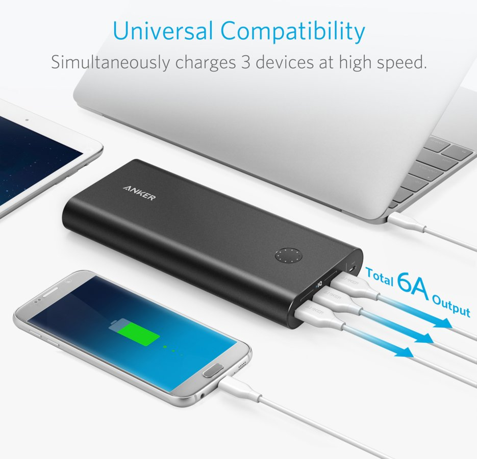 Anker PowerCore+ 26800mAh Quick Charge 3.0 Svart