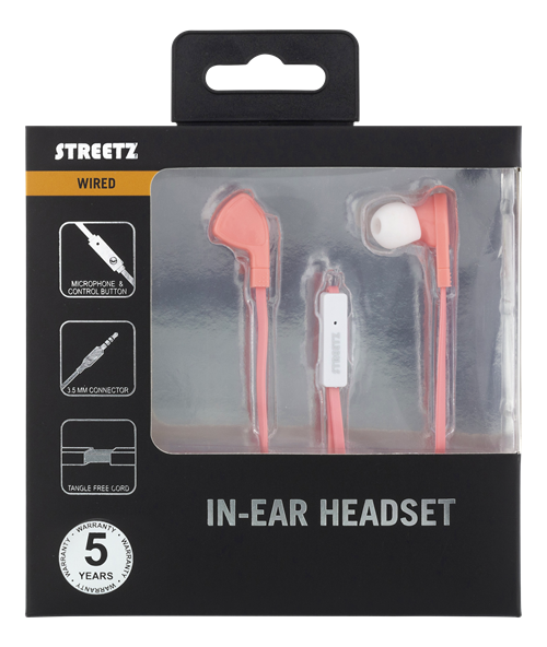 Streetz in-ear headset med svarsknapp, 1,2m kabel - Rosa