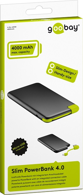 Slim Powerbank 4000mAh - Integrerad laddkabel